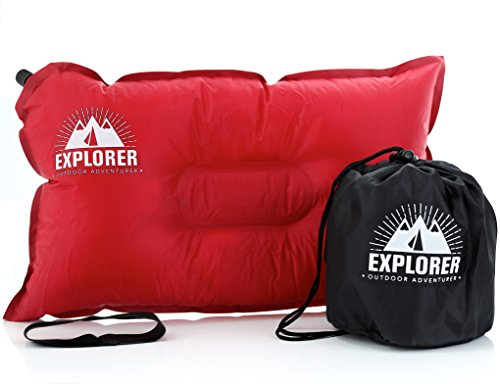 Outdoor Adventurer Camping Pillow/Travel Inflatable Pillow, Self Inflating, Compressible- Best for Indoor/Outdoor Camping, Car Rides, Airplane - Incl. Carry Bag (Red)