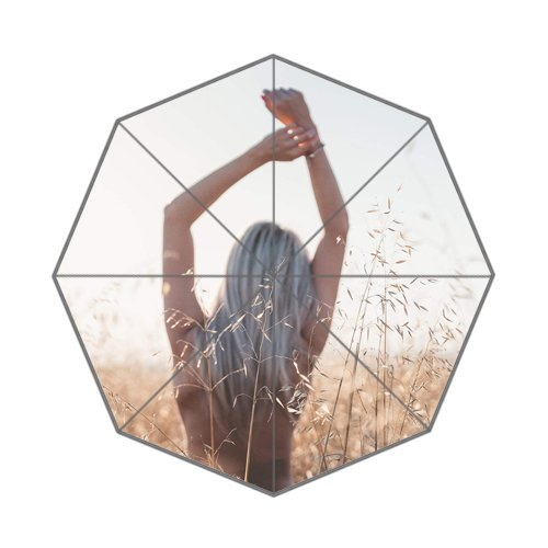 Flipped Summer Y Young Woman Enjoying Freedom at Wheat Field Customized Art Prints Umbrella by Flipped Summer Y