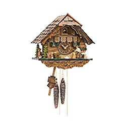 Cuckoo Clock Black Forest house with moving wood chopper