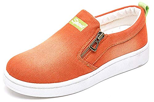 (HAPPYSTORE Women Sneaker Denim Jeans Classic Low Top Round Toe Casual Shoes African Sneakers Loafers Shoes Orange)