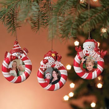 Fun Express Peppermint Candy Red White Striped Snowman Christmas Tree Photo Picture Frame Ornaments - 3 Pieces (Picture Ornament)