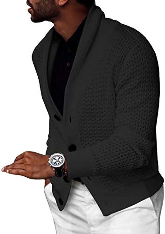 Heflashor męska kurtka z dzianiny Cardigan gruba dzianina sweter ze stÓjką ciepły guzik Down płaszcz dziany jesień zima sweter dziany outwear: Heflashor: Odzież