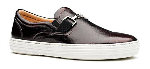 Opp Mens Casual In Vera Pelle Sneakersflats Scarpe Mocassino Vino Di Design Semplice