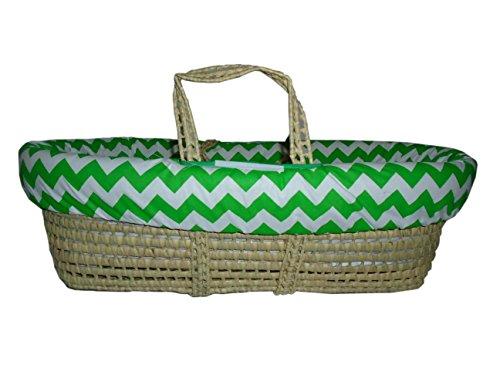 Baby Doll Bedding Chevron Moses Basket, Green by BabyDoll Bedding