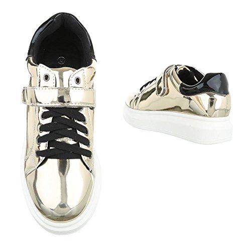 Ital-Design - Zapatos Planos con Cordones Mujer Gold WXY6691