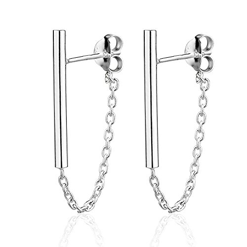 925 Sterling Silver Minimalist Simple Thin Line Bar Post & Dainty Dangle Chain Jacket Stud - Earrings Metal Chain