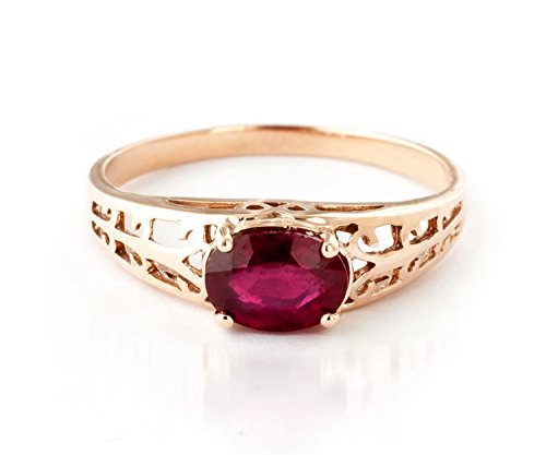 (1.15 ct 14K Solid White Rose Yellow Gold Filigree Solitaire Ring with Natural Ruby 2330 (Rose-Gold, 7))