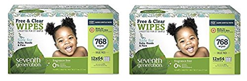 Seventh Generation Thick and Strong Baby Wipes, with Flip Top Dispenser ZNAELQ, 2 Pack (768 Count)