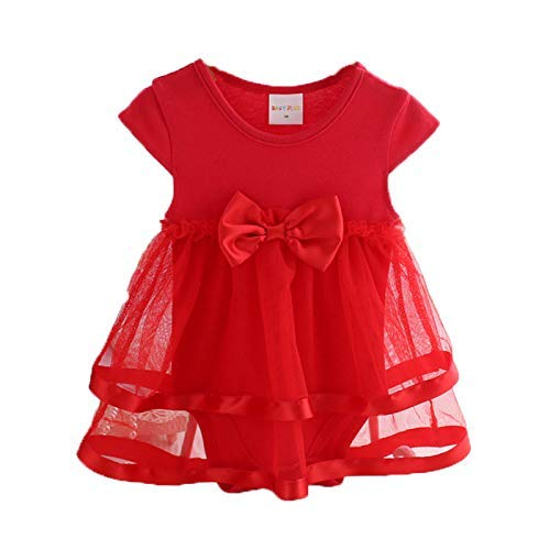 Momsbabe 100%Cotton Baby Romper for Girls, Cute Ladybug Pattern Babies Dress (0-3 Months, Red)