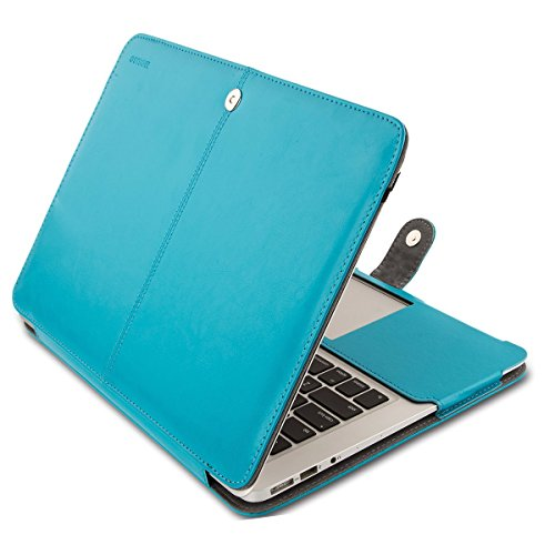 MOSISO PU Leather Case Only Compatible MacBook Air 13 Inch A1466/A1369 (Older Version Release 2010-2017), Premium Quality Book Folio Protective Stand Cover Sleeve, Blue
