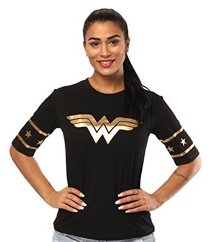 Justice League Wonder Women Golden Foil T-Shirt – Short Sleeved Women, Girls Wear - Junior Size (L, Black) -