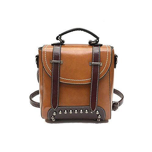 BAILIANG Womens PU ​​sac à Bandoulière Sac à Main Bandoulière Rivet Mode Brown
