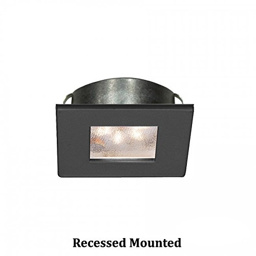 WAC Lighting HR-LED87S-27-BK 3000K Soft White Square LED Button Light, Black