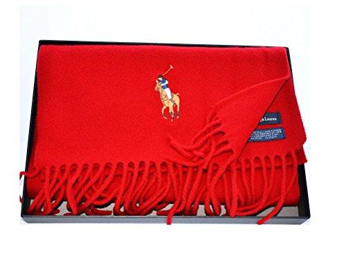 Polo Ralph Lauren Red Wool Winter Warm Scarf Big (Big Pony Lambswool)