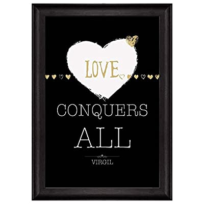 Beautiful Creative Design, With a Professional Touch, Black and White with Gold Quote Love Conquers All by Virgil Framed Art