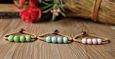 Spring Deer Hand-Woven Colorful Unisex Four-Beaded Round Ceramic Porcelain Bracelet