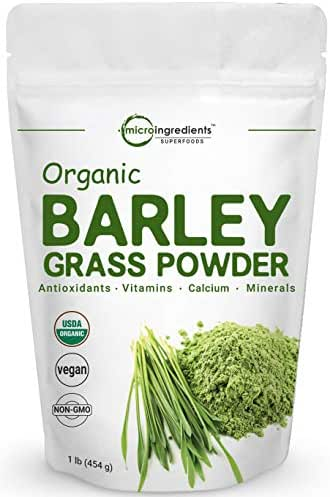 Sustainably US Grown, Organic Barley Grass Powder, 1 Pound, Rich Fiber, Vitamins, Minerals, Antioxidants, Chlorophyll, Essential Amino Acids and Protein. No Irradiated, No GMOs and Vegan Friendly.