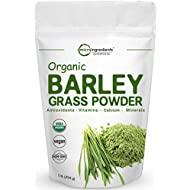 Sustainably US Grown, Organic Barley Grass Powder, 1 Pound, Rich Fibers, Vitamins, Minerals, Antioxidants, Chlorophyll and Protein, Support Immune System and Digestion Function, Vegan Friendly.