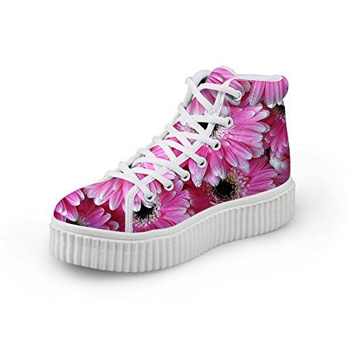 HUGS IDEA Flower Girls Women High Top Shoes Sneakers Floral 4 qsjtZ