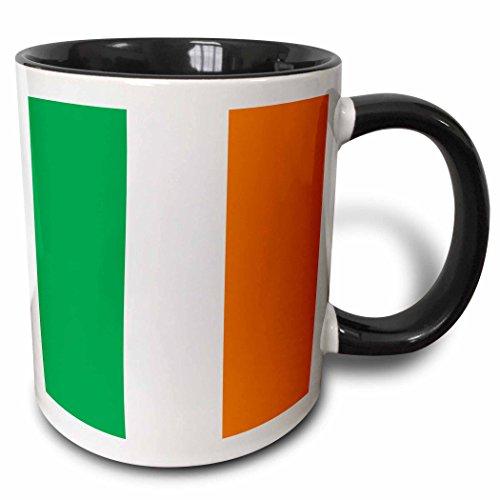 3dRose (mug_158340_4) Flag of Ireland - Irish green white orange vertical stripes United Kingdom UK world country souvenir - Two Tone Black Mug, 11oz