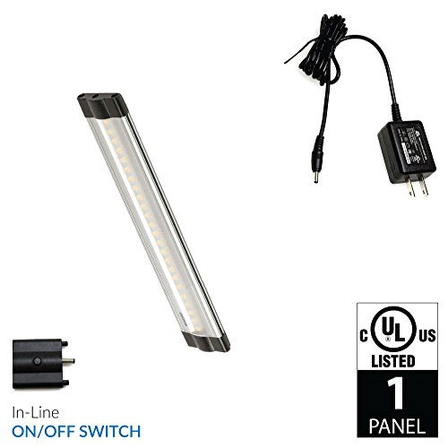 Lightkiwi Dimmable LED Under Cabinet Lighting 1 Panel Kit, 6 Inches Each, Cool White (6000K), 3 Watt, 24VDC, On/Off Switch & All Accessories Included, Low Profile, Sturdy Aluminum Body, UL (Hutch Light)