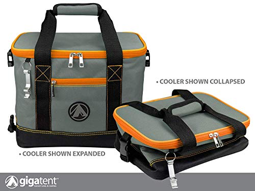 GigaTent Insulated Collapsible Cooler - Soft Lunch Box with Bottle Opener for Camping, Beach and Travel - Lightweight and Tear Resistant Fabric (Large - 18