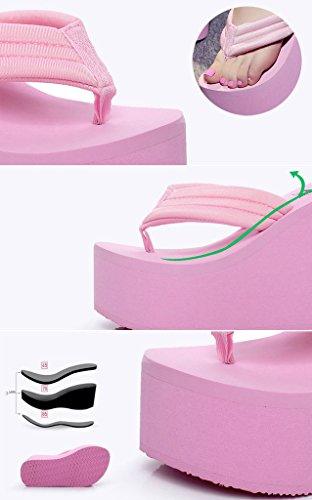 Qzunique Womens Tacco Alto Piattaforma Zeppa Infradito Sandali Moda Pantofola Estate Perizoma Rosa