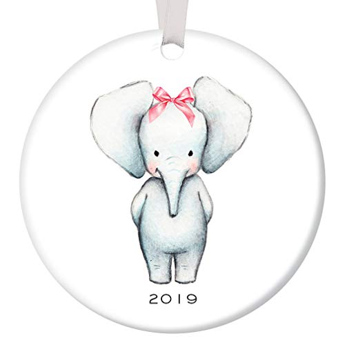 Baby Girl Christmas Ornament 2019 Newborn Baby Shower Cute Elephant Pink Bow Mommy Daddy Infant First 1st Holiday Ceramic Keepsake Present 3