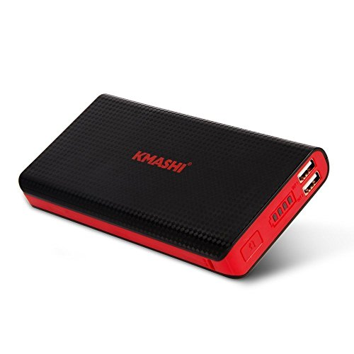 KMASHI 15000mAh External Battery Power Bank, Ultra High Capacity Portable Charger Backup Pack with Powerful Dual USB 3A Output and 2A Input For iPhone 6s 6 Plus, iPad and Samsung Galaxy and More