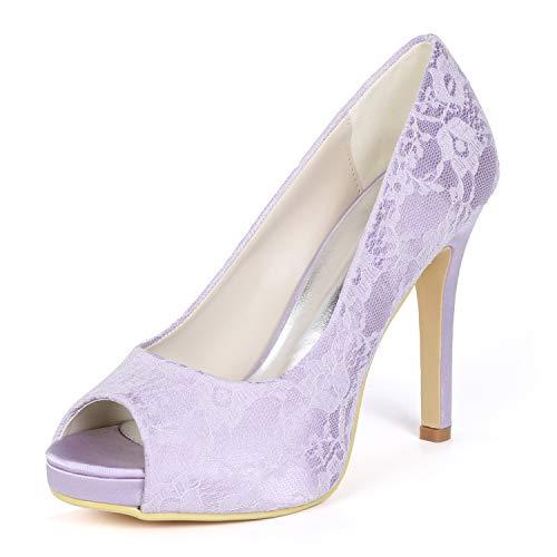Alti yc Misura Per Da Nastri Sposa Tacchi 42 abito Fiori L Medio 35 Donna Avorio Scarpe Purple Borsette xOqnS66wAd