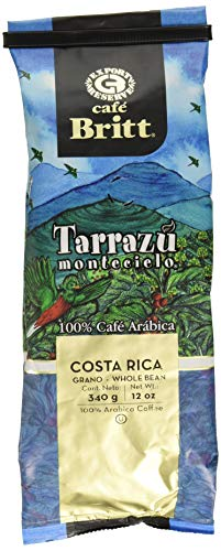 Cafe Britt Tarrazu Montecielo Whole Bean Coffee, 12-Ounce Bags (Pack of 2) Chocolate Whole Bean Tea