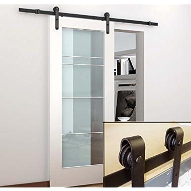 TCBunny Sliding Door Hardware Closet Set Antique Style (Black)