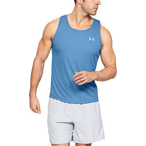 Under Armour Speed Stride Singlet, Heather Blue//Reflective, Large