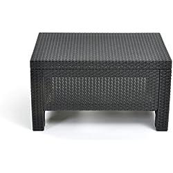 Keter Corfu Coffee Table Modern All Weather Outdoor Patio Garden Backyard Furniture, Grey