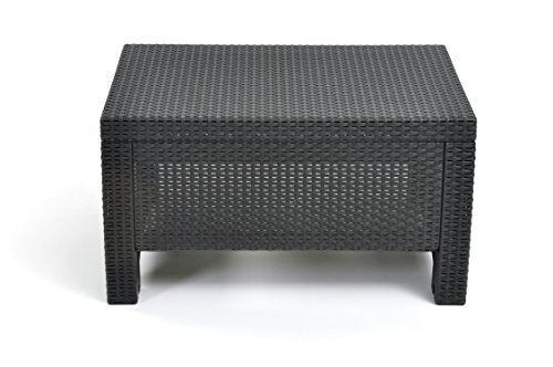 Keter Corfu Coffee Table New All Weather Outdoor Patio Garden Backyard Furniture, Charcoal/Anthracite/Graphite (Commercial Rattan Outdoor Furniture)