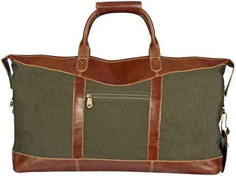 Canyon Outback Leather Goods Inc. Pine Canyon 22-inch Leather and Canvas Duffel Bag – Full Grain Leather and Green Canvas Overnight Weekender Bag for Men and Women- Perfect Travel Bag or Gym Bag