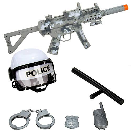 SumacLife Kid's Police Man Role-Playing Play-Set with Gear and Realistic SMG Toy Machine Gun Rifle with Scope, Flashing Lights and Sounds Activity Pretend Play Toy Set