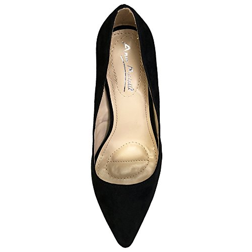 Anne Michelle Womens Plain Pointy-Toe Dress Heel Pump Black Faux Suede dDsyMmn