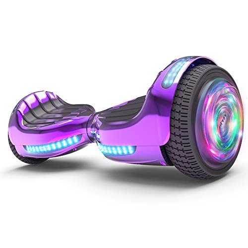 "Hoverboard UL 2272 Certified Flash Wheel 6.5"" Wireless Speaker with LED Light Self Balancing Wheel Electric Scooter (Chrome Violet)"