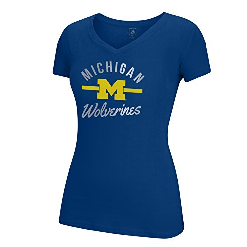J America NCAA Michigan Wolverines Women's School Spirit Stripe Essential Tee, XX-Large, ()