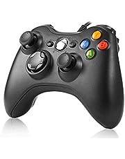 JAMSWALL Manette filaire Xbox 360, Filaire GamePad Controller, Manette du Contrôleur de Jeu Filaire avec Double Vibration Pour PC Xbox 360 Windows (Noir)