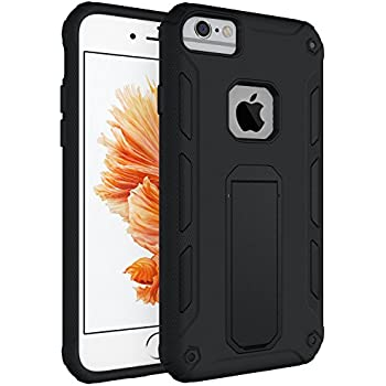 iPhone 6s Case,iPhone 6 Case,YEONPHOM Dual Layer Heavy Duty Rugged Shock-Absorption Non-slip Bumper and Anti-Scratch Hard Back Cover With Kickstand Hybrid Protective Case for Apple iphone 6/6S(Black)