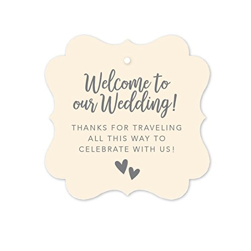 (Andaz Press Out of Town Bags Fancy Frame Gift Tags, Welcome to Our Wedding Thanks for Traveling to Celebrate with Us, Ivory, 24-Pack, for Destination OOT Gable Boxes)