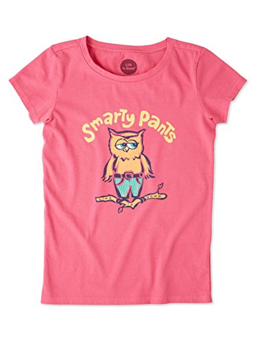 (Life is Good Girls Crusher Graphic T-Shirts Collection,Smarty Pants,Fiesta Pink,X-Large)