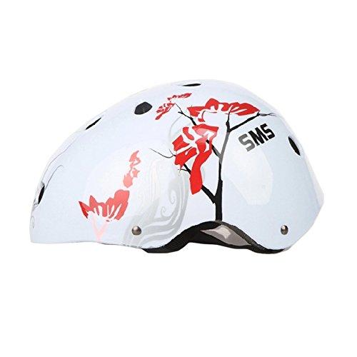 Plum Blossom Roller/vélo/skateboard Casque (Blanc)