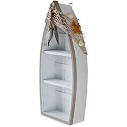 """Beach Theme Display Boat with 3 Shelves with Fish Net and Star Fish / Shell 16.5""""H"""