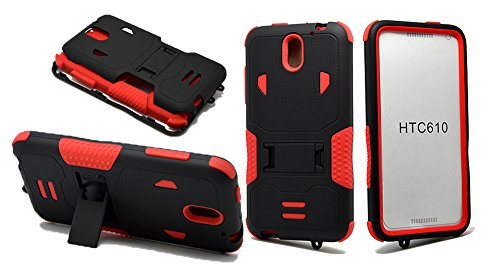 HTC Desire 610 Case, NEM Heavy Duty Armor Tough Rugged Hard Shockproof Hybrid Cover Dual Layer Kickstand Case Ultra Durable Protective Phone Case for HTC Desire 610-Red (Htc 610 Phone Screen)