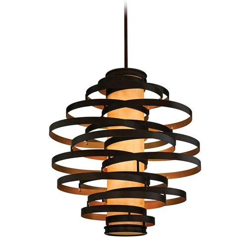Lighting Corbett Bronze (Corbett Lighting 113-76-F Vertigo Six Light Pendant with Caramel Ice Glass, Bronze with Gold Leaf Finish)