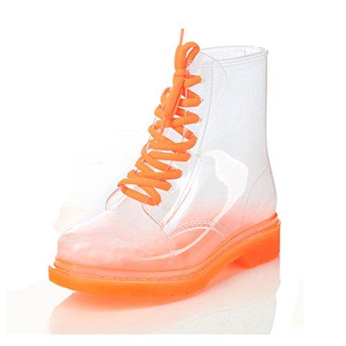 Nonbrand Talon Bloc Femmes Bottines Synthétique Orange,