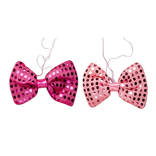 Set of 12 PINK LED Light Up Flashing Sequin Bow Tie Ties -